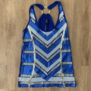 Bebe L royal blue rhinestone sleeveless top party